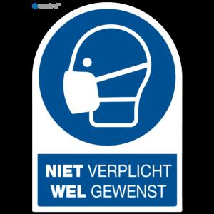 Simbol - Stickers Gebruik Mondkapje Niet Verplicht Wel Gewenst - Corona Stickers - Duurzame Kwaliteit