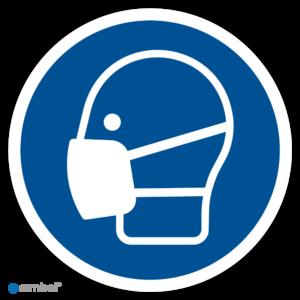 Simbol - Stickers Gebruik Mondkapje Verplicht - Duurzame Kwaliteit
