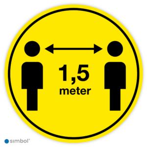 Simbol - Vloerstickers Houd 1,5 Meter Afstand - COVID-19 Vloerstickers - Houd Afstand Stickers - Anti-Slip