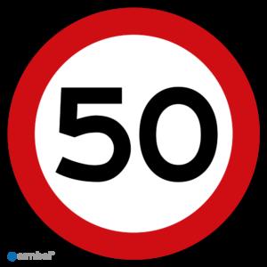 Sticker Maximaal 50 km per uur