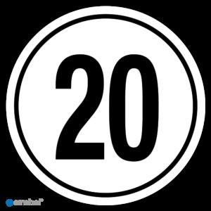 Simbol - Stickers Tempo 20 km - Tempostickers Maximaal 20 km - Duurzame Kwaliteit
