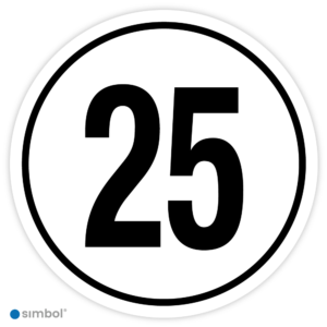 Simbol - Stickers Tempo 25 km - Tempostickers Maximaal 25 km - Duurzame Kwaliteit