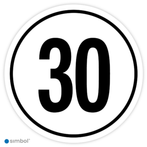 Simbol - Stickers Tempo 30 km - Tempostickers Maximaal 30 km - Duurzame Kwaliteit