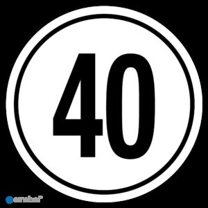 Simbol - Stickers Tempo 40 km - Tempostickers Maximaal 40 km - Duurzame Kwaliteit