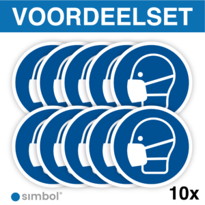 Simbol - Voordeelset van 10 Stuks - Stickers Gebruik Mondkapje Verplicht - Duurzame Kwaliteit - Formaat ø 10 cm.