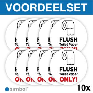 Simbol - Voordeelset van 10 Stuks - Stickers Flush Toilet Paper Only - Alléén Toilet Papier - Duurzame Kwaliteit - Formaat ø 10 cm.