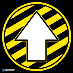 Simbol Looproute met Pijl (gestreept geel-zwart)