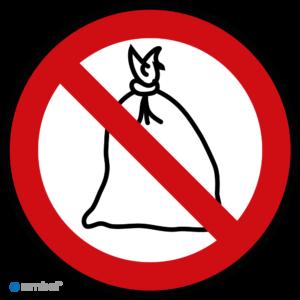 Simbol - Stickers Verboden Afvalzakken - Huisvuilzakken te plaatsen - Duurzame Kwaliteit