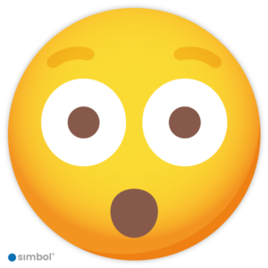 Simbol - Sticker Emoticon Verbaasd - Verbaasde Smiley Sticker - Kliko - Container - Duurzame Kwaliteit