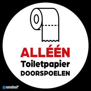 Simbol - Stickers - Alléén Toilet Papier Doorspoelen - Duurzame Kwaliteit