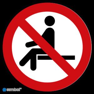 Simbol - Stickers Verboden Te Zitten - Hier Niet Zitten (P018) - Duurzame Kwaliteit