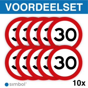 Voordeelset 10 stuks - Simbol - Stickers 30 km - Maximaal 30 km/u - Duurzame Kwaliteit