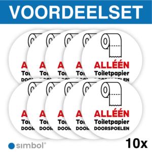 Simbol - Voordeelset van 10 Stuks - Stickers Alléén Toilet Papier Doorspoelen - Duurzame Kwaliteit - Formaat ø 10 cm.