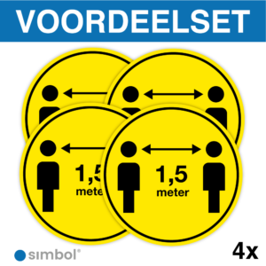 Simbol - Voordeelset 4 x Vloerstickers Houd 1,5 Meter Afstand - COVID-19 Vloerstickers - Houd Afstand Stickers - Anti-Slip - Formaat ø 30 cm.