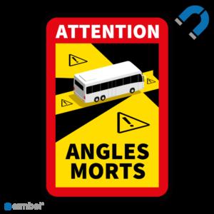 Simbol - Magneetsticker Dode Hoek Frankrijk Bus - Camper - Attention Angles Morts - Duurzame Kwaliteit - Formaat 17 x 25 cm