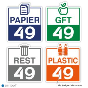 Simbol - Voordeelset 4 Stuks Container Sticker Met Eigen Huisnummer - Kliko Stickers Huisnummer - Papier - GFT - Restafval - Plastic - Formaat 20 x 23 cm.