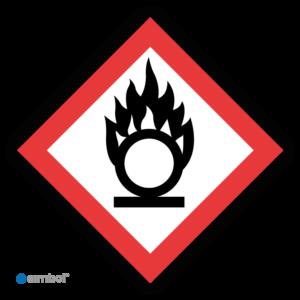 Simbol - Sticker GHS03 Oxiderend - Oxidizing - Duurzame Kwaliteit