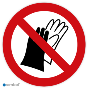Simbol - Stickers Dragen Van Handschoenen Verboden - Geen Handschoenen (P028) - Duurzame Kwaliteit