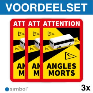 Simbol - Voordeelset 3 Stickers Dode Hoek Frankrijk Bus - Camper - Attention Angles Morts - Duurzame Kwaliteit - Formaat 17 x 25 cm