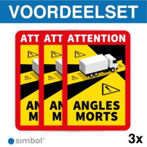 Simbol - Voordeelset 3 Stickers Dode Hoek Frankrijk Vrachtwagen - Camion - Attention Angles Morts - Duurzame Kwaliteit - Formaat 17 x 25 cm