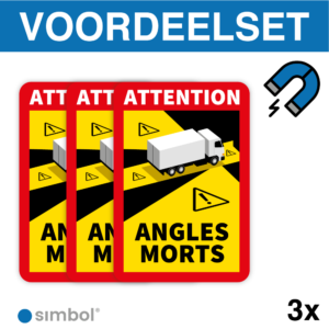 Simbol - Voordeelset 3 Magneetstickers Dode Hoek Frankrijk Vrachtwagen - Camion - Attention Angles Morts - Duurzame Kwaliteit - Formaat 17 x 25 cm